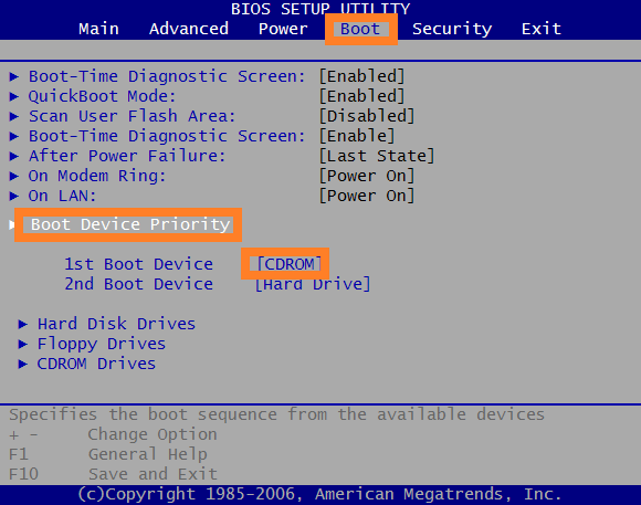 AMI BIOS boot sequence
