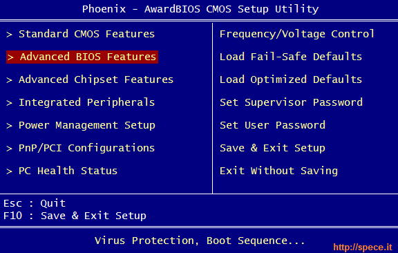 Phoenix BIOS boot sequence