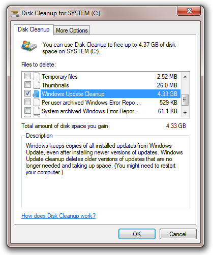 disk cleanup winsxs